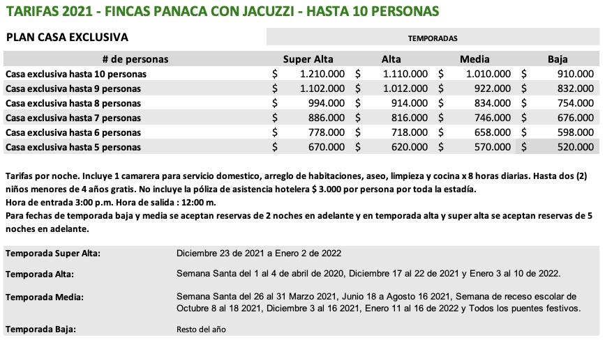 Tarifas Fincas Panaca 2021 10 pax jacuzzi