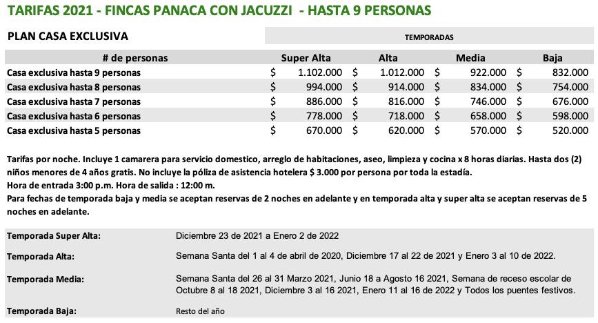 TARIFAS FINCAS PANACA 9 PERSONAS