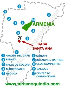 bbicacion Casa de Campo Santa Ana