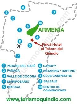 bbicacion Finca Hotel El Tesoro del Quindio