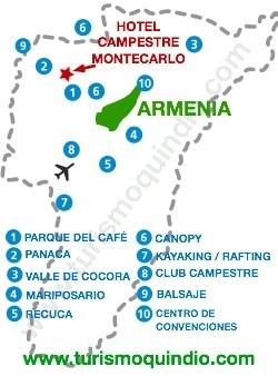 bbicacion Hotel Campestre Montecarlo