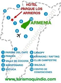bbicacion Hotel Parque Los Arrieros