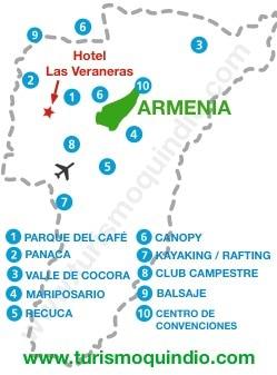 bbicacion Hotel Veraneras del Quindio