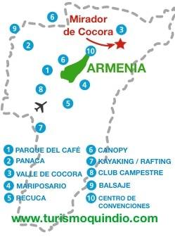 bbicacion Hotel Mirador de Cocora