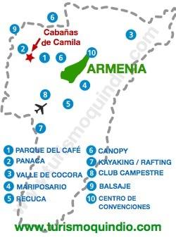 bbicacion Cabañas de Camila