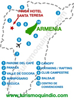 bbicacion Finca Hotel Santa Teresa y Santa Teresita