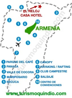 bbicacion El Reloj – Casa Hotel Filandia
